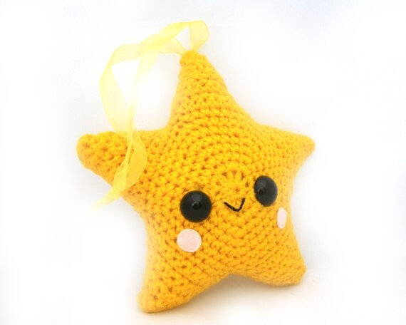 star amigurumi plush scented hanging ornament kawaii yellow lemon stuffed crochet softie aromatherapy organic essential oil citrus