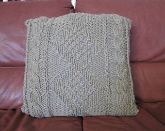 Ready-Made Knit Pillow---EXQUISITE in TAUPE  (20in)