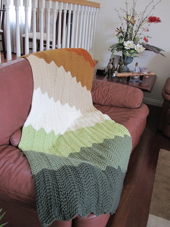 Ready-Made Knit Afghan---------------- CHEVRON in GREEN to RUST
