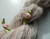 Handspun and Handdyed Art Yarn: ENGLISH TEA ROSE