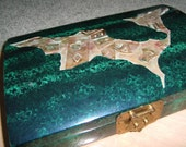 Artistic  BOX for STORAGE JEWELRY or collectibles..green..laquered..gold carving