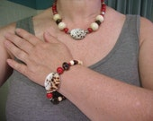 CORAL COWRIE SHELL Tribal Beach Necklace and Bracelet Set