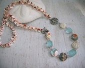 BEACH AQUA BLUE Lampwork Beads and Recycled Shell Bead Beach Color Necklace