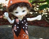 "REALPUKI ""FOREST FRIENDS"" Terracotta Felt TailSuit with Hat"