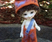 "REALPUKI ""FOREST FRIENDS"" Terracotta Scruff Overalls with Hat"