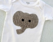 Baby Elephant Appliqued Bodysuit