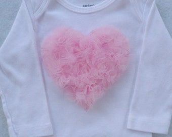 Tulle Heart Bodysuit  Baby Girl / You Pick Color / Valentine's Day