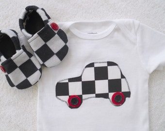 Race Car Onesie with Matching Crib Shoes / Baby Boy