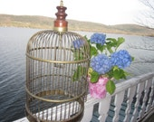 huge brass birdcage, antique birdcage, parrot cage, repurpose me 2 feet tall