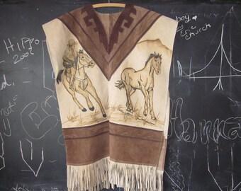 HUGE SALE...       amazing handmade vintage leather poncho,fringe, horses,cowboys large