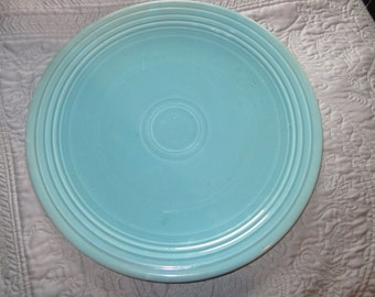 "SALE,,,,                      vintage fiesta platter, turquoise,rare 12"" cake plate,"