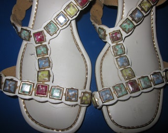sz 6 1/2 vtg jeweled sandals, funky shoes, strappy low heels