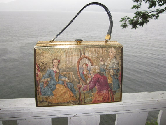 huge vintage tapestry box purse,patent leather,retro.most unusual