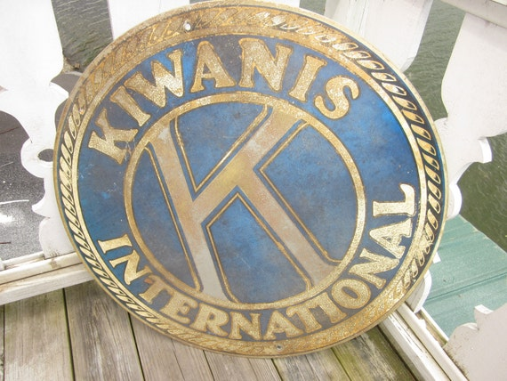 "huge 30"" across kiwanis international sign, advertising, metal signs prop decorator"