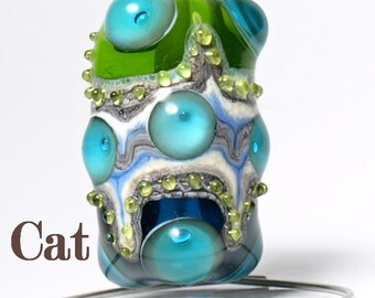 Green, Ivory and Blue Lampwork Focal Glass Bead