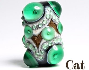 Green, Black and Ivory Lampwork Focal Glass Bead