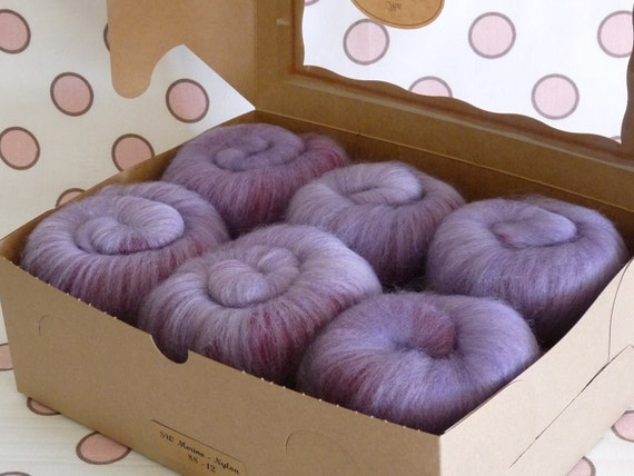Spinning Fiber Batts - Superwash Merino/Nylon  6 ounces  -  Lilacs and Roses