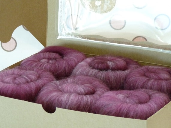 Spinning Fiber Batts - Superwash Merino/Nylon  6 ounces  - Plum Velvet