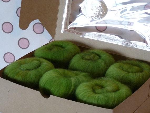 Spinning Fiber Batts - Cupcake Fiber SW BFL/Nylon Sock Fiber Batts - 6 ounces  - Froggy