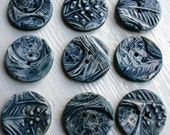 5 Handmade Ceramic buttons - inky blue eggs and feather buttons - sewing project - Easter