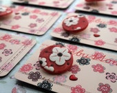 Mothers day gift -  red kimono spring blossom- hearts and flowers - sewing project - handmade buttons