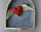 Heart Ornament - red fluttering heart with wings