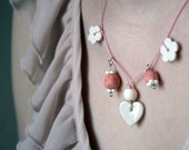 Ceramic charm necklace - garland of peach berries, white blossoms and glossy heart- bridesmaids gift wedding