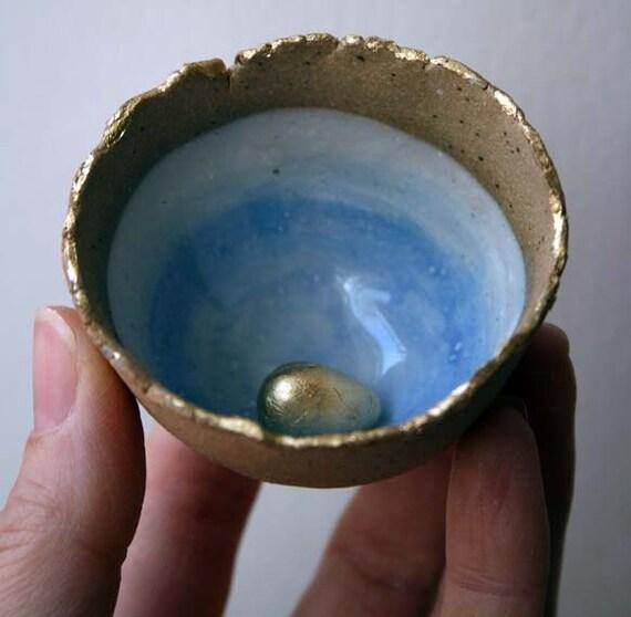 Tiny golden egg bowl - handmade ceramic bowl - magpie nest bowl- easter gift - mothers day gift in stock