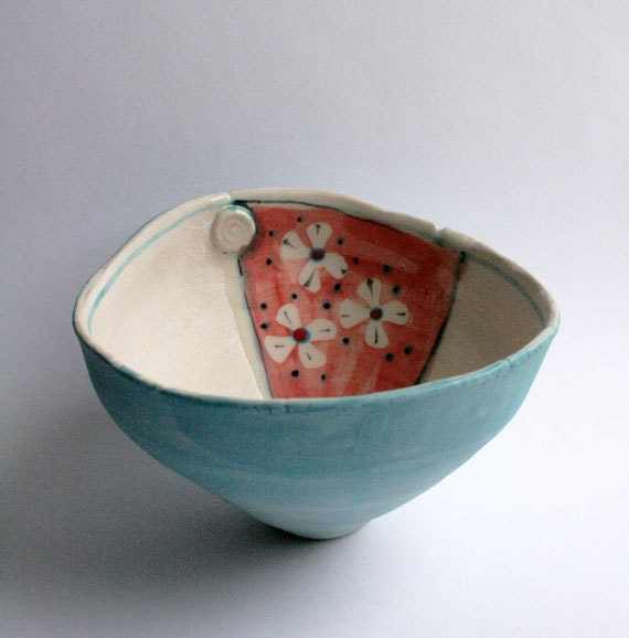 Ceramic deep bowl - red white and blue  turquoise kimono spring flowers