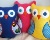 Owl, Baby Toy, Handmade embroidered baby stuffed owl