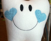Personalized Tooth Fairy Pillow with hanger for girls & boys, You choose heart color cheeks. Embroidered and Stuffed Fleece