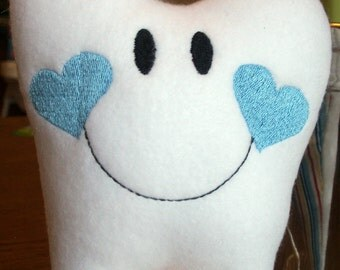 Personalized Tooth Fairy Pillows with hanger for boys, Embroidered and Stuffed Fleece