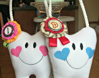2 Personalized Tooth Fairy Pillows for a girls or boys