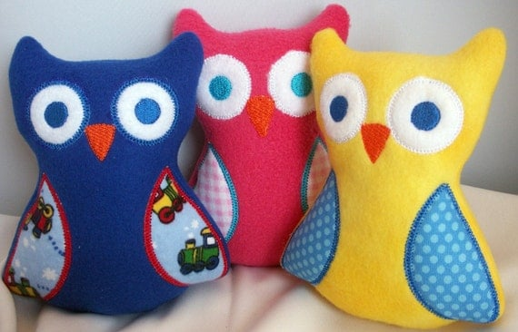 Owl, Baby Toy, Personalized, Handmade embroidered baby stuffed owl