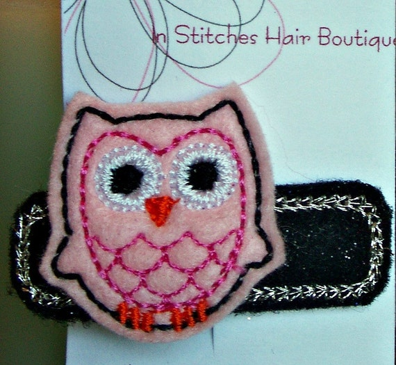 Felt Embroidered Hair Clip, Owl Hair Clip, Felt Hair Clippie, Embroidered Owl Felt Hair Clips