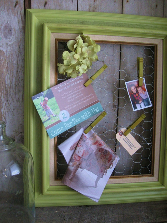 Repurposed and Upcycled Frame /  Memo, Photo or Inspiration Board