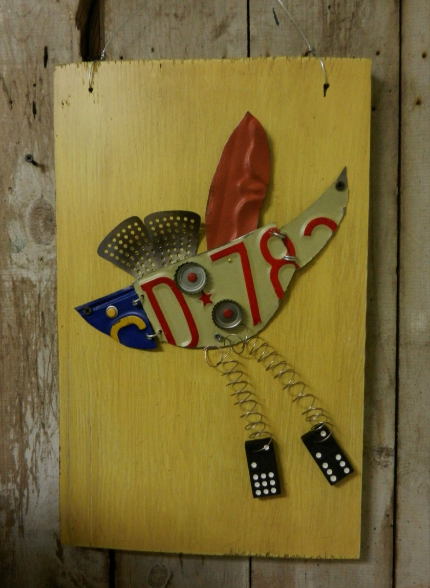 Funky junk bird metal assemblage altered wall art by for Funky wall art