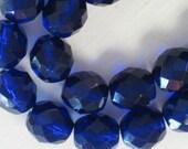 20 pieces Czech 10MM Fire Polish Glass beads Cobalt Blue (CZ002)