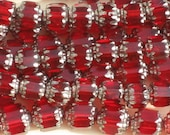 8 MM Czech Glass Cathedral Beads Red 13 pc    item 5002