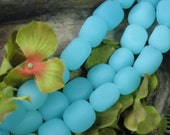 Frosted Opaque Aqua Sea Glass large nuggets 20mm approx. strand  no.5054