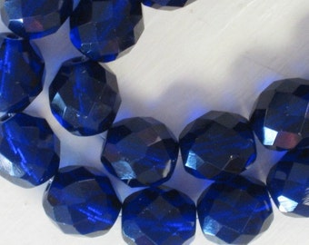 20 pieces Czech 10MM Fire Polish Glass beads Cobalt Blue (CZ002)