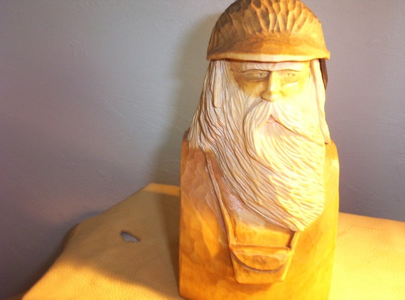 Wood carving Mountain man bust collectible OOAK gift for him flowing beard carved feather hand made in Wisconsin by Old Bear Woodcarving