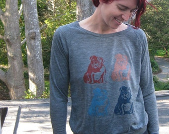 a collection of Bulldogs Shirt, Slouchy Pullover, Bulldog Sweater, S,M,L,XL