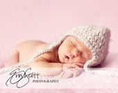 Newborn Baby Beige Hat with Ear Flaps-Perfect Newborn Photo Prop