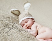 READY TO SHIP Baby Bunny Hat Crochet Tan Light Brown-Perfect for Newborn Photo Prop or Easter