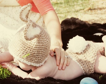 Baby Bunny Hat with Diaper Cover Set-6-12 mo Perfect Crocheted Photo Prop-Easter or Halloween Costume