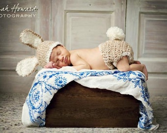 READY TO SHIP Baby Bunny Hat and Diaper Cover Costume - Newborn Easter or Halloween Photo Prop