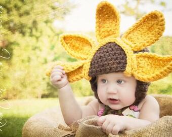 READY TO SHIP-3-6 mo size--Baby Sunflower Crochet Hat--Unique Design--Beautiful Newborn Photo Prop