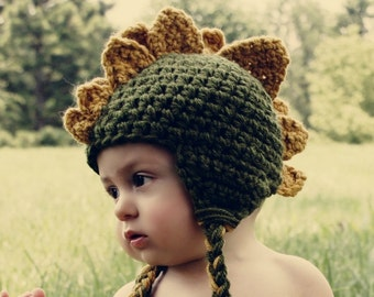Dinosaur Crochet Hat--Baby or Kids sizes--Perfect Halloween Costume or Photo Prop
