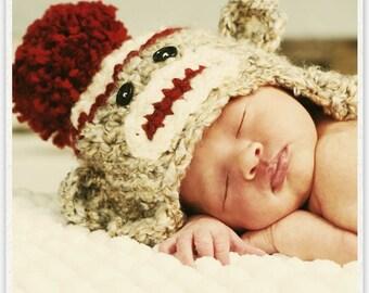 Baby Sock Monkey Crochet Hat-Perfect Newborn Photo Prop or Halloween Costume